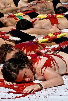 Manifestation anti-corrida Bilbao, août 2009