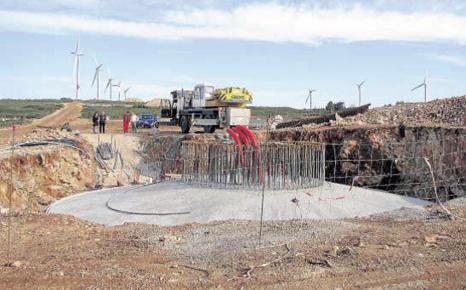 Le chantier sur le causse d'Aumelas en novembre 2008