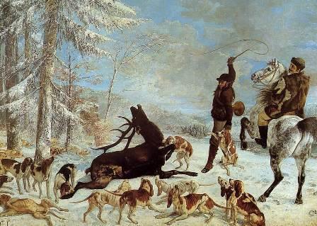 Gustave Courbet, L'hallali du cerf ou Episode de chasse à courre sur un terrain de neige, huile sur toile, 1867, Musée des beaux-Arts de Besançon