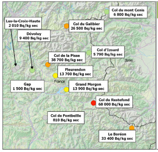 Césium-137 dans les sol alpin en 2015 (©ACRO)