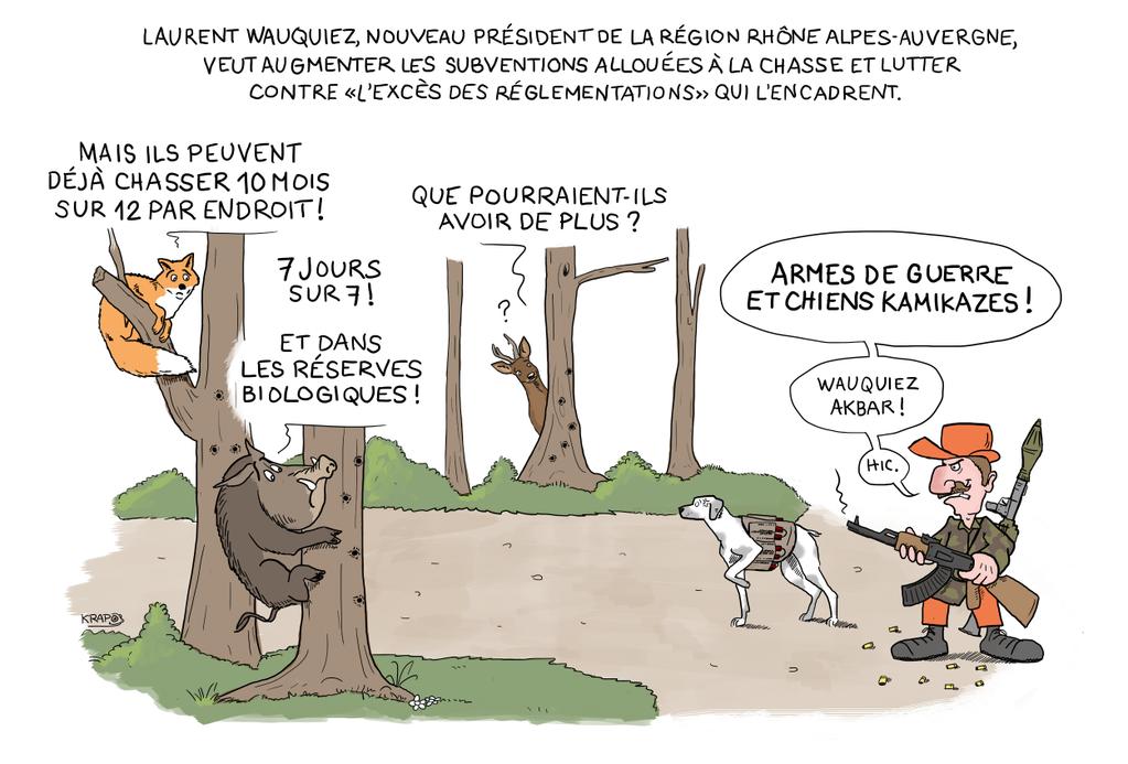 Laurent Wauquier, le nouveau président de la Région Rhône-Alpe Auvergne veut augmenter les subventions pour la chasse !